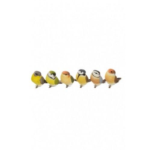 Set of 6 Garden Bird with Clip 9cm