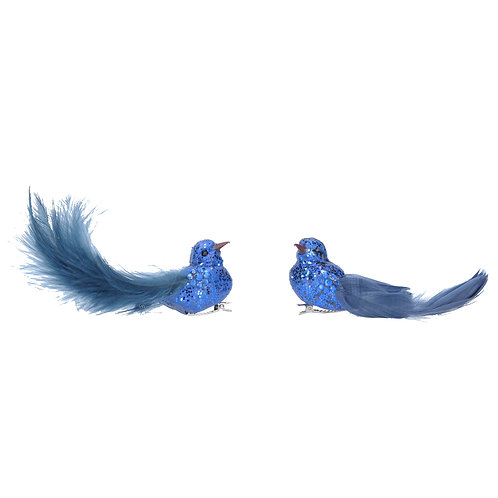 Clip-on Bird 12cm - Blue Glitter with Feather Tail (set of 2)