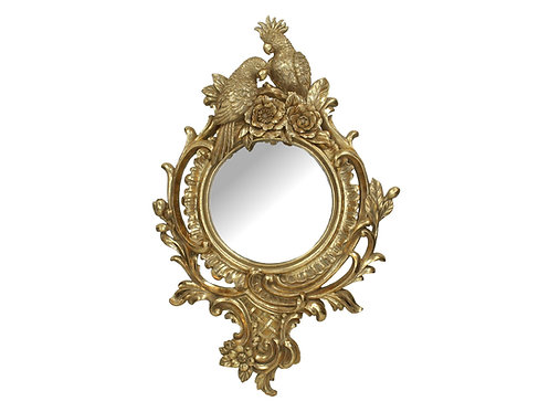 Gold Mirror with Parrots