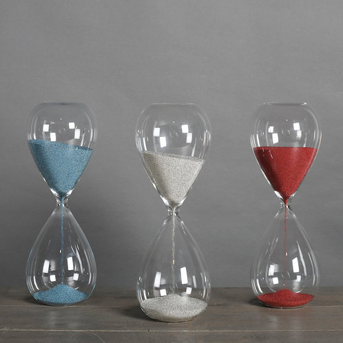 SET OF 3 BLUE WHITE AND RED SAND TIMERS