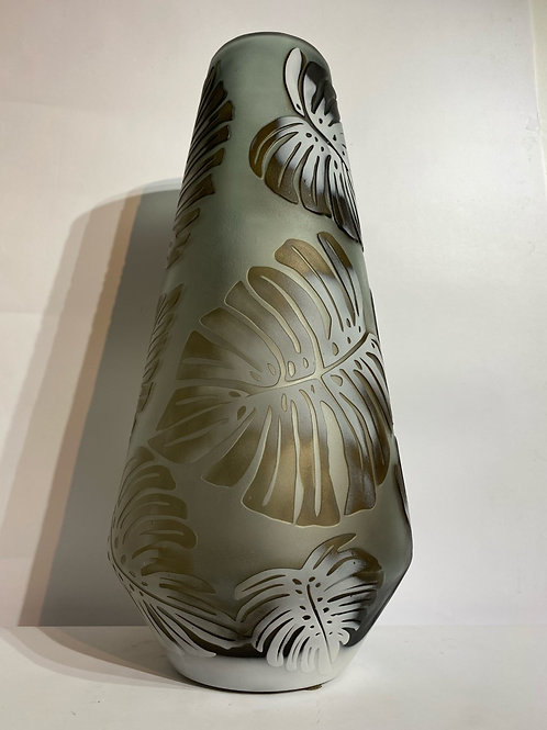 Glass Vase with Leaves
