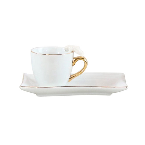 Espresso Cups with Cat Detail White