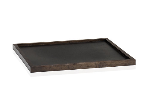 Square and flat dark wood tray