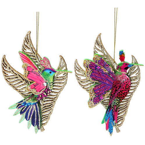 Hummingbird with Leaf 13cm (set of 2)