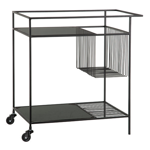 DRINKS TROLLEY IN BLACK METAL AND GLASS