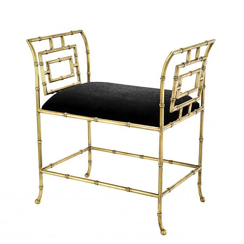 BENCH BONITA - Vintage brass finish | black velvet
