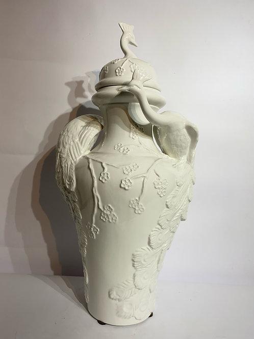 Porcelain White Vase with Peacocks