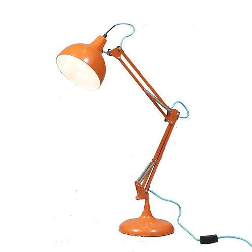 ORANGE TRADITIONAL DESK LAMP (BLUE FABRIC FLEX)
