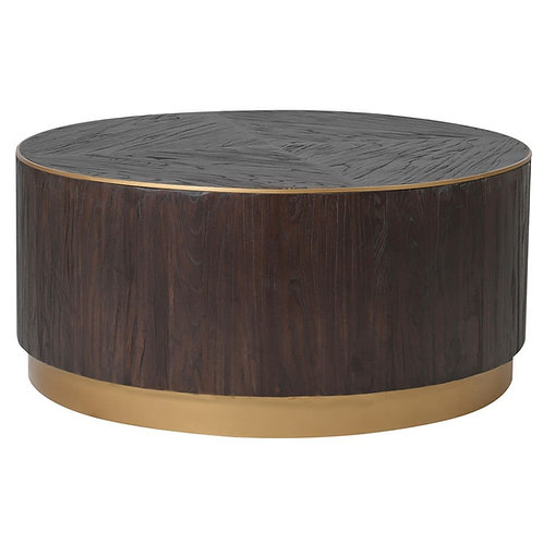 Brushed Elm and Copper Round Coffee Table