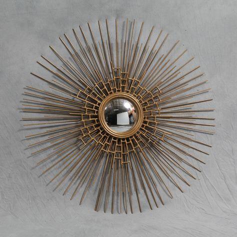Round Antique Gold Webbed Metal Sunburst Mirror