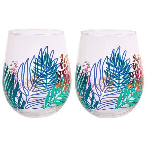 SUNNYLIFE - STEMLESS COCKTAIL GLASSES | ELECTRIC BLOOM