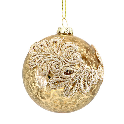 Antique Gold Glass Bauble with Embroidery 8cm