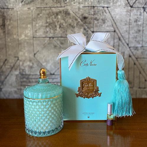 COTE NOIRE - LARGE BLUE ART DECO CANDLE - BLUE BOX