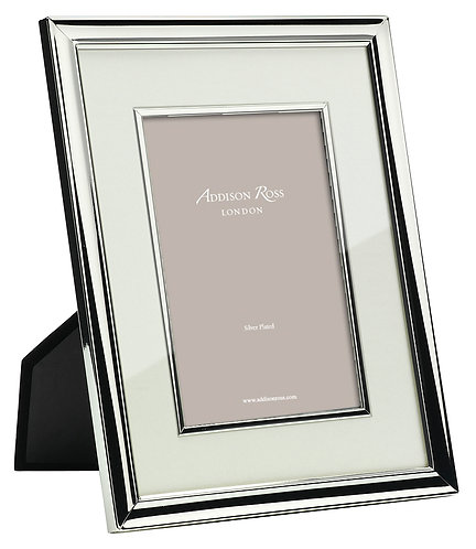 SILVER PHOTO FRAME WITH CREAM MOUNT & BEZEL (5X7IN)