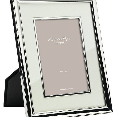 SILVER PHOTO FRAME WITH CREAM MOUNT & BEZEL (4X6IN)