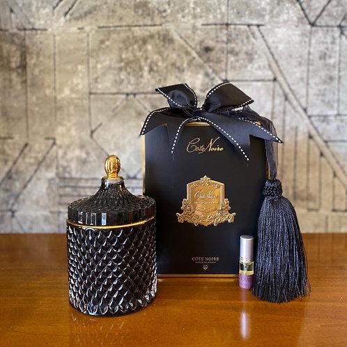 COTE NOIRE - LARGE BLACK ART DECO CANDLE - BLACK BOX