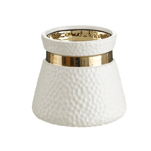 VASE WHITE-GOLD CERAMIC