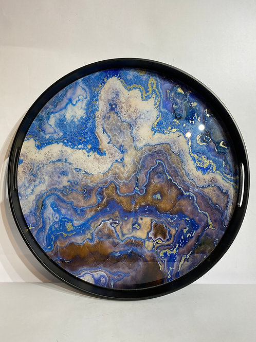 Round Tray in Marble Effect