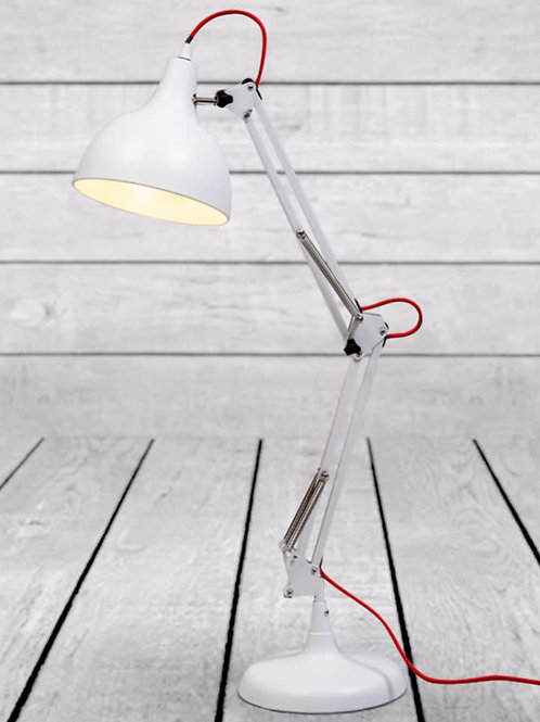 MATT WHITE TRADITIONAL DESK LAMP (RED FABRIC FLEX)