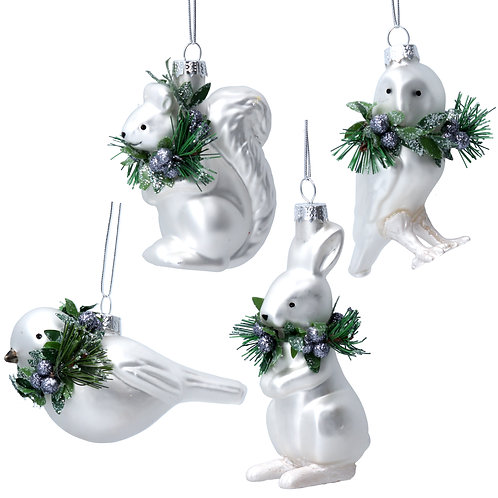 Glass Squirrel/Owl/Bird/Rabbit (set of 4)