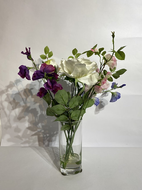 Mixed Flowers in Cylindrical Vase
