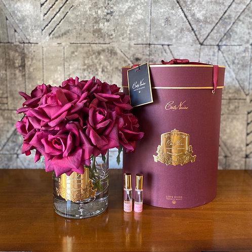 COTE NOIRE - TWELVE CARMINE RED ROSES - BURGUNDY BOX