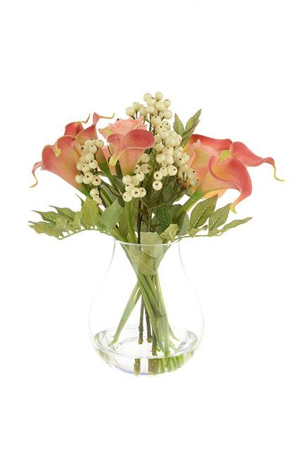 Callas & Roses in Bulb Vase