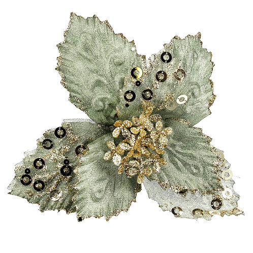 Green Fabric Poinsettia with Gold Sequins 21cm