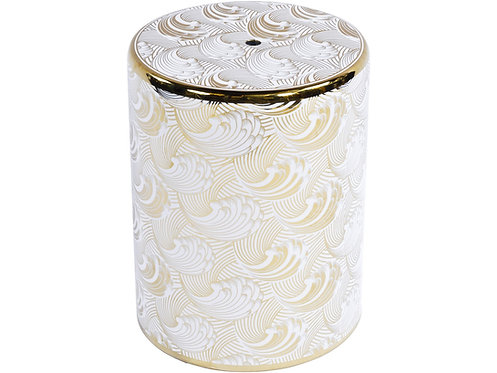 Ceramic Stool in White and Gold