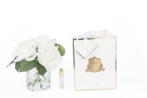 COTE NOIRE - HERRINGBONE FLOWER - BLUSH & WHITE ROSES - CLEAR
