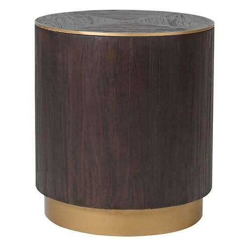 Brushed Elm and Copper Round Lamp Table