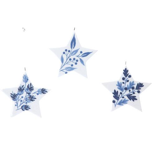 Blue/White Ceramic Star Decoration (set of 3)