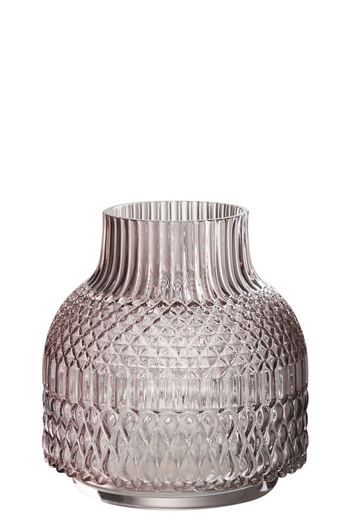 Vase Round Broad Cut Glass Mauve