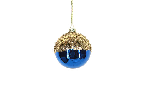 Blue and Gold Glass Bauble 8cm