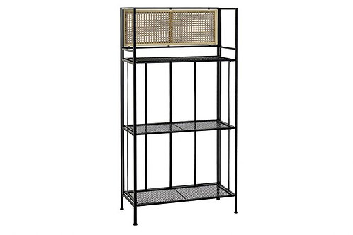 METAL AND RATTAN SHELVING