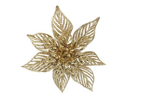 Clip-on Flower 22cm - Gold Glitter Poinsettia
