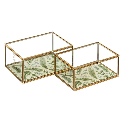 SET OF 2 BOXES LEAVES GOLD METAL / GLASS
