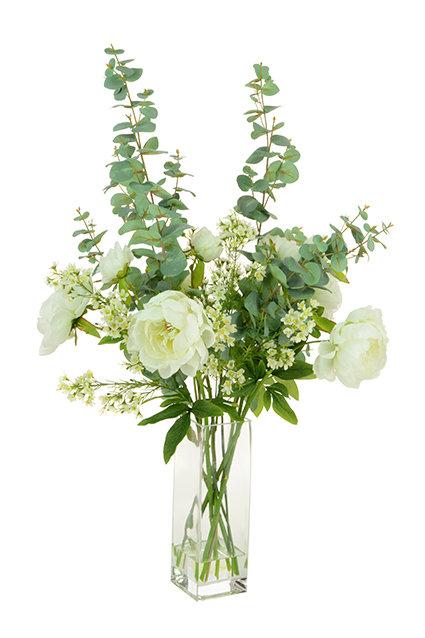 Large Peony & Eucalyptus in Vase