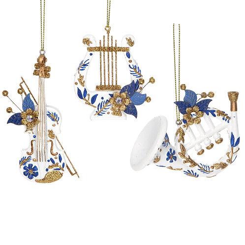 Blue/White/Gold Instrument Decoration (set of 3)