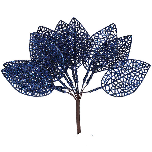 Blue Glitter Leaves - 17cm