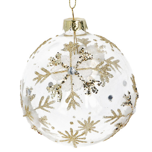Glass Bauble (8cm) - Clear/Gold w Lace Snowflake