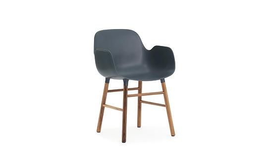 Form Armchair Walnut Blue