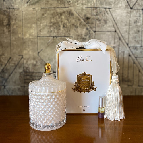 COTE NOIRE - LARGE WHITE ART DECO CANDLE - WHITE BOX