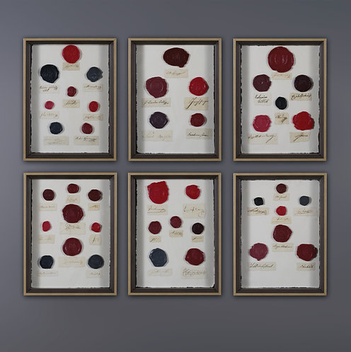 SET OF 6 FRAMES WITH WAX SEALS
