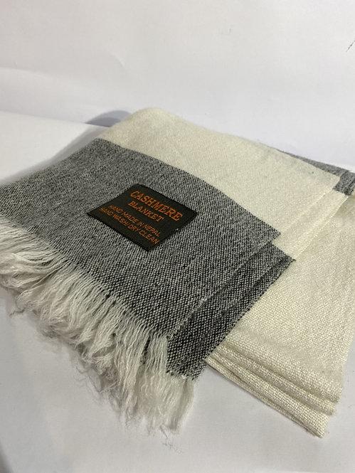 Cashmere Throw in Grey & White