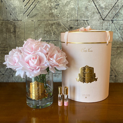COTE NOIRE - TWELVE FRENCH PINK ROSES - PINK BOX