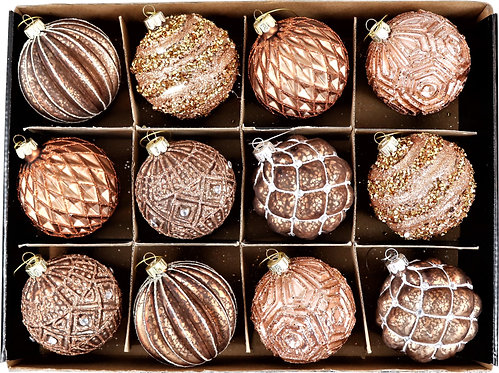Christmas Glass Baubles (Set of 12)