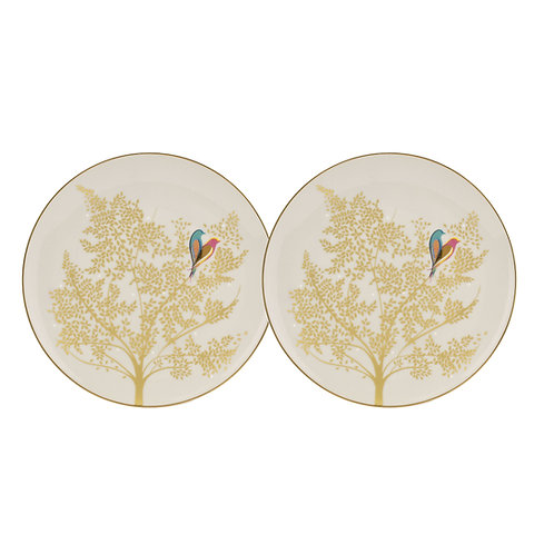 PALE GREY LOVEBIRD CAKE PLATES SET OF 2