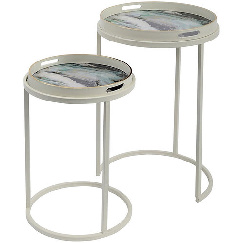 Green Marble Effect Tables (Set of 2)