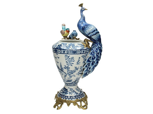 Blue & White Vase with Peacock